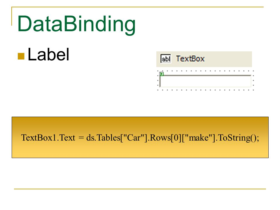TextBox1.Text = ds.Tables[ Car ].Rows[0][ make ].ToString();